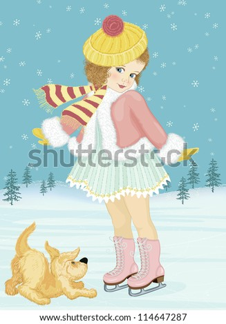 Little girl skating and playing with her dog - stock vector