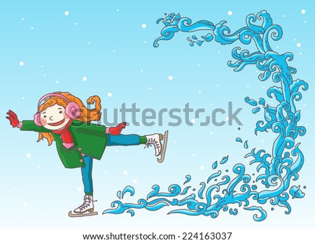 Little girl skating on ice. Christmas Season Card Elements. Winter activities. Isolated objects on Snow Winter background. Great illustration for school books and more. VECTOR. - stock vector