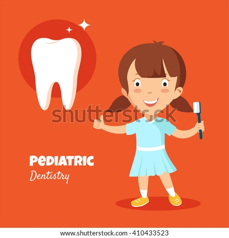 Little girl smiling , holding in her hand toothbrush with toothpaste.Dental care and health. Pediatric dentistry concept. Vector illustration.  Eps 8 - stock vector