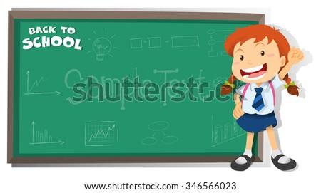 Little girl standing by the blackboard illustration - stock vector