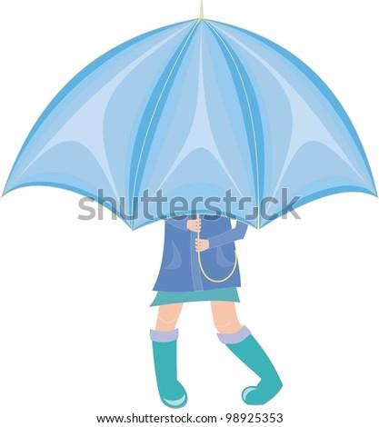 little Girl standing under an umbrella in rubber boots - stock vector