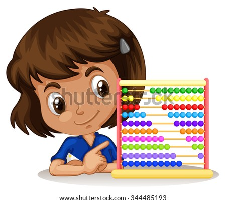 Little girl using abacus to count illustration - stock vector