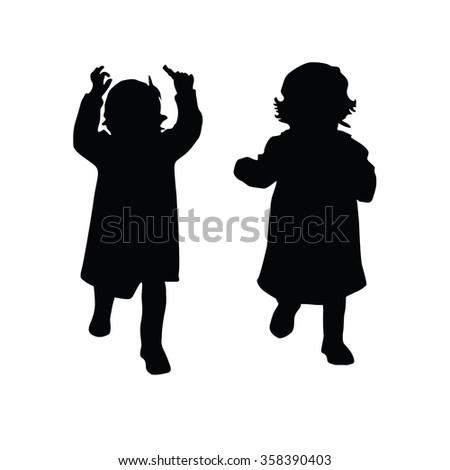 little girl vector silhouette illustration - stock vector