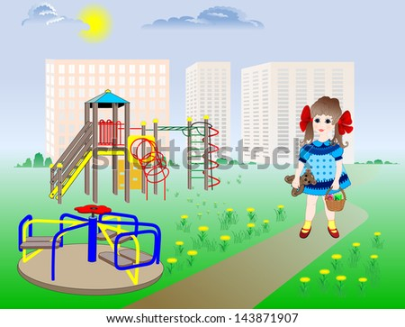little girl walks alone on the playground without adult supervision - stock vector