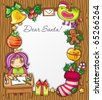Little girl, wearing crownt, writing a letter to Santa . Lots of Christmas ornaments and decorations. Christmas kids series 3. - stock vector