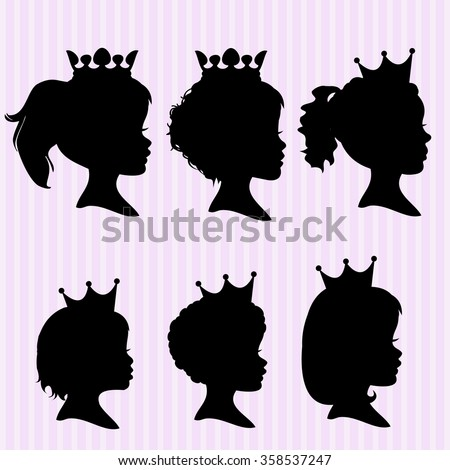 Little girl with a crown silhouettes - stock vector