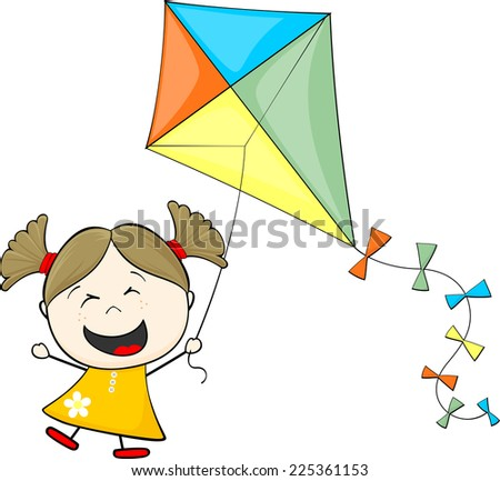 little girl with pigtails playing kite isolated on white background - stock vector