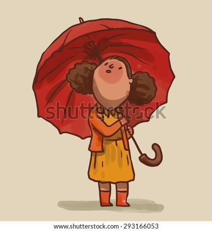 Little girl with umbrella, vector - stock vector