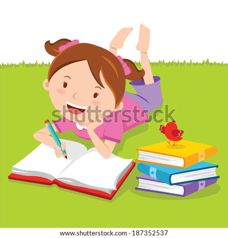 Little girl writing with books. Creative Writing. Vector illustration of a lovely girl writing outdoors. - stock vector