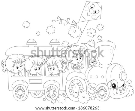 Little girls and boys riding on a toy train - stock vector