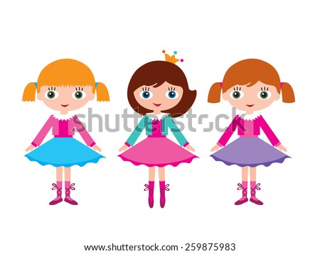 Little girls ballerinas. Lesson at the ballet school. Isolated on white background. Vector illustration - stock vector