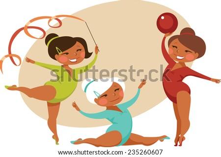 Little girls gymnasts - stock vector