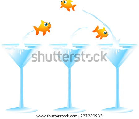 Little golfish fish jumping from a cocktail glass to another f, leaving in the first one two fish friends. Vector illustration.  - stock vector