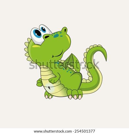 Little green dragon - stock vector