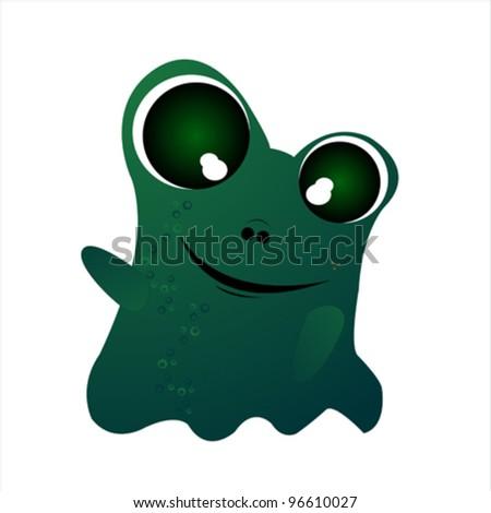 Little green friendly monster on white background - stock vector