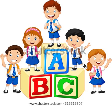 Little happy children with alphabet block - stock vector