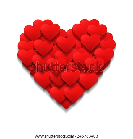 Little hearts form a big heart. Valentine's day concept. Vector illustration - stock vector