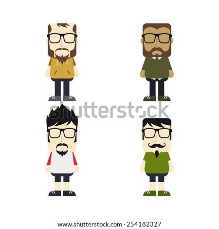 little hipster guy set - stock vector