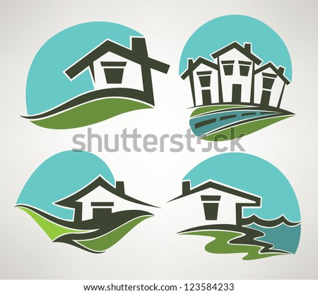 little home in small town, vector collection of emblems - stock vector