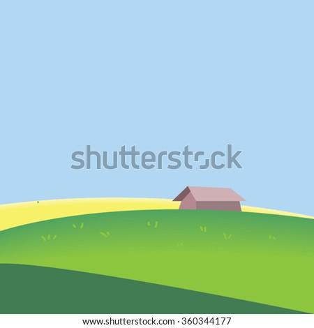 little hut in the field-vector - stock vector