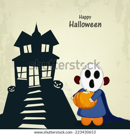Little kid in ghost mask holding a pumpkin and standing outside from haunted house. - stock vector