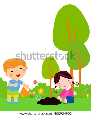Little kids planting small plant in garden - stock vector