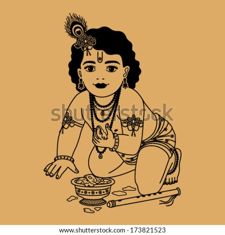 Little Krishna with a plate of porridge and a pipe on a beige background  - stock vector