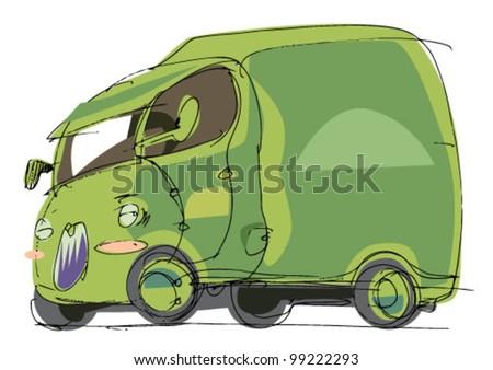 little lorry - cartoon - stock vector