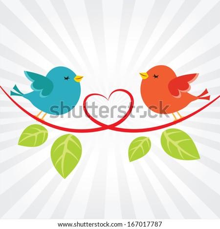 Little love birds - stock vector