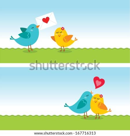 Little love birds. Valentine love. Vector illustration of little love birds stories. Happy Valentine's day! - stock vector