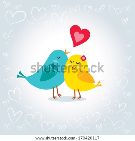 Little love birds. Vector  illustration of little love birds. Happy Valentine's day! - stock vector