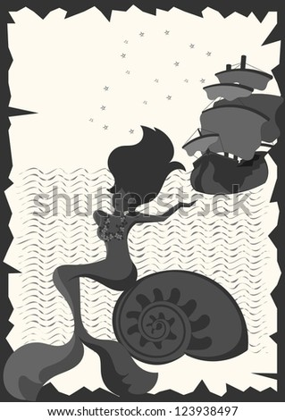 little mermaid and sailboat - stock vector