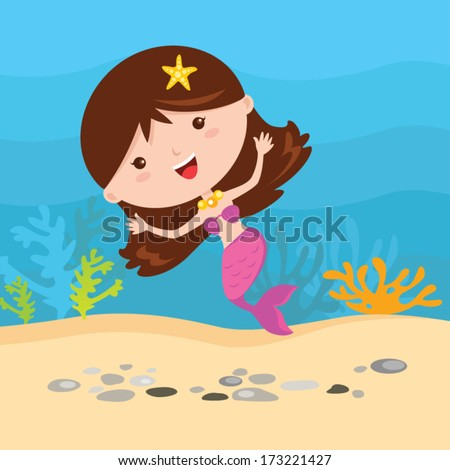 Little mermaid fun under the water. - stock vector