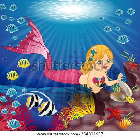 Little mermaid  with Pearl in the bottom of the ocean-Editable-various level-Transparency blending effects and gradient mesh-EPS 10 - stock vector