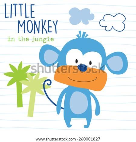 little monkey vector illustration - stock vector