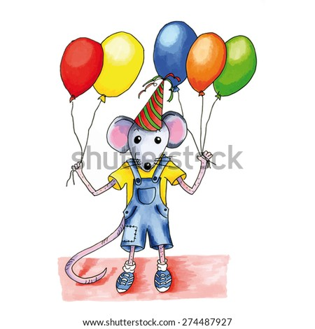 Little mouse child with many birthday balloons - stock vector
