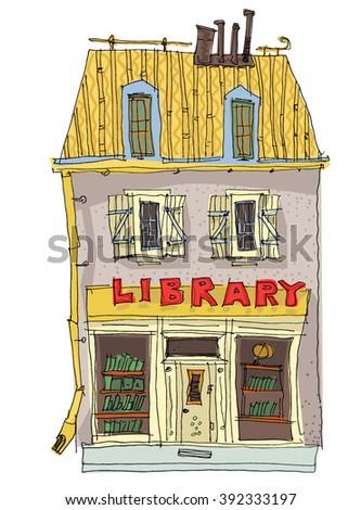 little old library - cartoon - stock vector