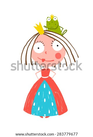 Little Princess Standing with Prince Frog Sitting on Head. Colorful fun childish hand drawn illustration for kids fairy tale. - stock vector