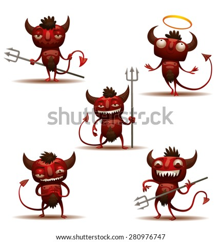 Little Red Devils set, vector - stock vector