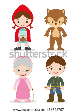 little red hood characters from tale - stock vector