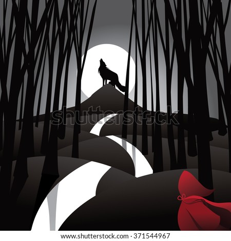 Little Red Riding Hood fairy tale depiction with howling wolf and frightened riding hood. EPS 10 vector illustration. - stock vector