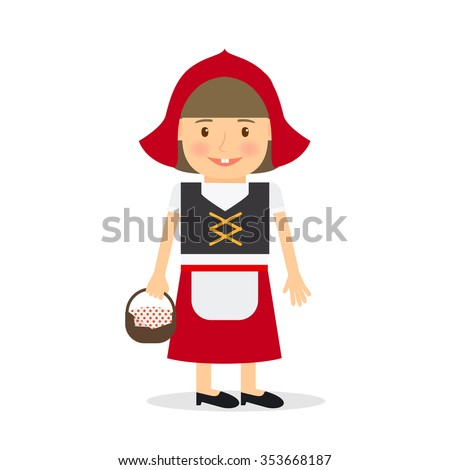 Little red riding hood. Girl costume for kids party or holiday. Vector illustration.  - stock vector