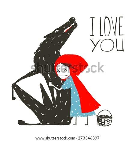 Little Red Riding Hood Loves Black Wolf. Little Red Riding Hood hugs wolf, illustration for the fairy tale. Vector illustration. - stock vector