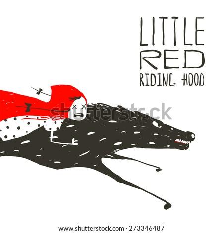 Little Red Riding Hood on Black Wolf Running. Red Riding Hood on the back of a wolf riding fast. Vector illustration. - stock vector