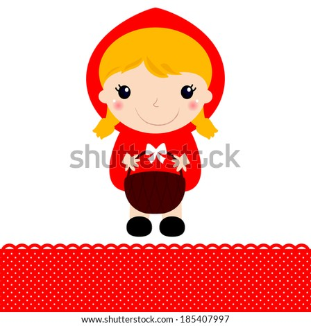 Little Red riding hood with basket isolated on white  - stock vector
