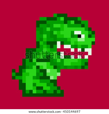 Little reptile monster. Vector illustration in the style of old-school pixel art. - stock vector