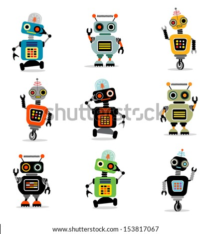 Little Robots set 3 - stock vector