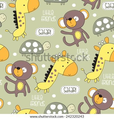 little safari friends monkey, giraffe, turtle pattern vector illustration - stock vector