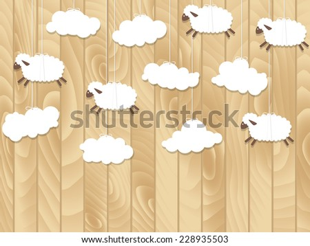 Little sheep fly on wooden background. Cartoon vector illustration. Paper sheep - stock vector