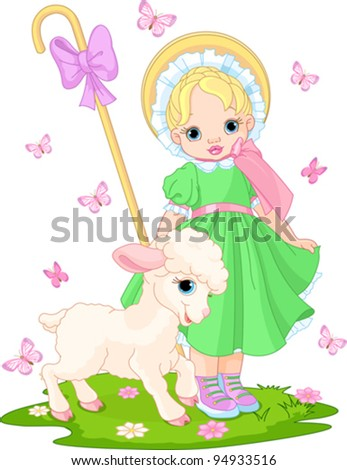 Little shepherdess with newborn lamb in  the spring meadow - stock vector
